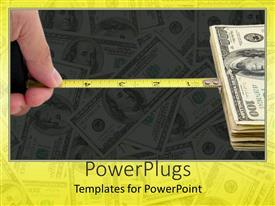 PowerPlugs: PowerPoint template with a measuring tape connected to dollars