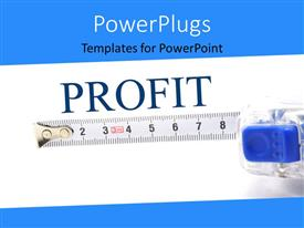 PowerPlugs: PowerPoint template with measuring tape for determining success rate over white background with blue edges
