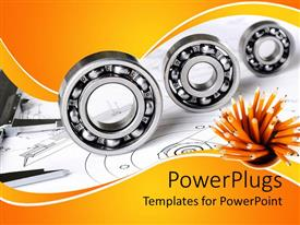 PowerPoint template displaying mechanical engineering theme with three different sized bearings, measuring tool and pencils on engineering design background