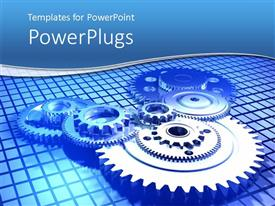 PowerPlugs: PowerPoint template with mechanical gear displayed in a mechanism on blue background