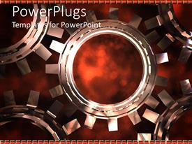 PowerPlugs: PowerPoint template with mechanical gear made of five 3D connected cogs on dark background