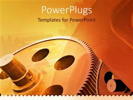 PowerPlugs: PowerPoint template with mechanical gears for industry, industrial theme with gears on retro colored background