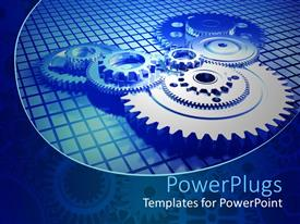 PowerPlugs: PowerPoint template with mechanism of multiple big and small meshing gears in blue background