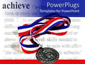 PowerPoint template displaying a medal with texts in the background and place for texts