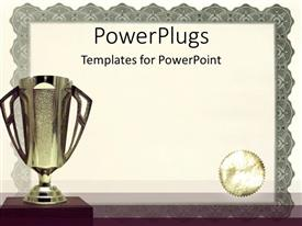 PowerPlugs: PowerPoint template with medals certificates awarding achievements and successful on neutral background