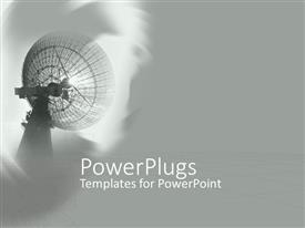 PowerPlugs: PowerPoint template with a media satellite dish on a grey colored background