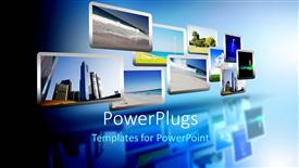 PowerPoint template displaying media stream of high technology and modern television
