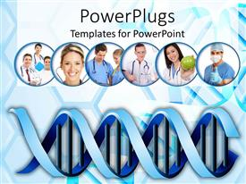 PowerPlugs: PowerPoint template with medical abstract background with DNA cells and medical practitioners