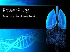 PowerPlugs: PowerPoint template with medical background with anatomy depiction of human organs and dna symbol in background