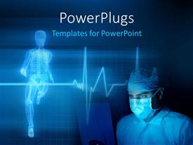 PowerPoint template displaying medical background with a heart beat / pulse with a skeleton, heart rate monitor symbol along with a doctor