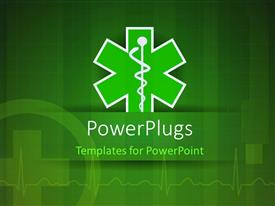 PowerPlugs: PowerPoint template with medical caduceus with nice ECG wave in the background
