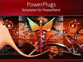 PowerPlugs: PowerPoint template with medical caduceus symbol with abstract background