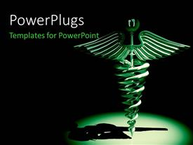 PowerPlugs: PowerPoint template with medical caduceus symbol in green on a black background
