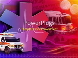 PowerPlugs: PowerPoint template with medical collage with ambulance, fire truck and police car in background