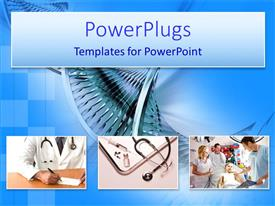 PowerPoint template displaying medical collage with doctor writing prescription, stethoscope and syringe and child patient in hospital with DNA background