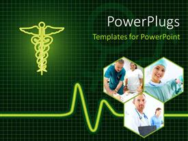 PowerPlugs: PowerPoint template with medical collage with doctors and patient with ECG wave and medical symbol in background