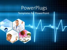 PowerPoint template displaying medical collage with doctors, pills, injection and a ECG wave over blue background