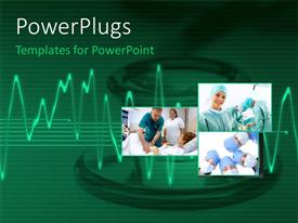 PowerPlugs: PowerPoint template with medical collage with doctors team performing operation on patient, with ECG rays over green background