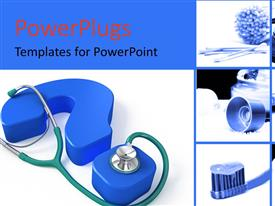 PowerPlugs: PowerPoint template with medical collage with stethoscope on a blue question mark