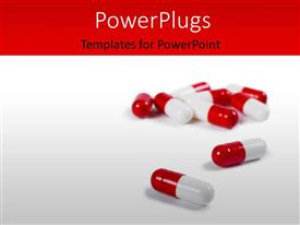 PowerPlugs: PowerPoint template with medical concept with capsules lying on grey color