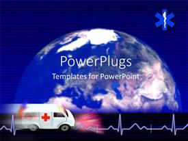 PowerPoint template displaying medical depiction with Cardiogram pulse and ambulance over globe