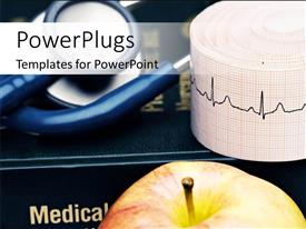PowerPoint template displaying medical depiction with close-up of apple, stethoscope and chart