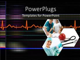 PowerPoint template displaying medical depiction with collage of doctor examining patient and heart pulse