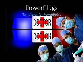 PowerPlugs: PowerPoint template with medical depiction with group of surgeons and ambulance in black background