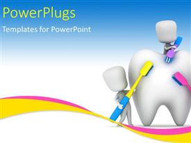 PowerPlugs: PowerPoint template with medical depiction with kids brushing a tooth with multi color toothbrushes