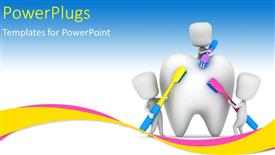 PowerPoint template displaying medical depiction with kids brushing a tooth with multi color toothbrushes