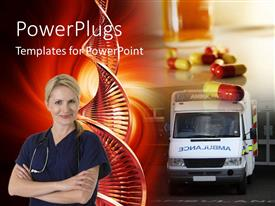 PowerPlugs: PowerPoint template with medical depiction of nurse with stethoscope across neck, capsules and ambulance