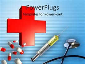 PowerPlugs: PowerPoint template with medical depiction with red cross, capsules, syringe and stethoscope