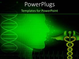 PowerPlugs: PowerPoint template with medical depiction with scan of human head and caduceus symbol