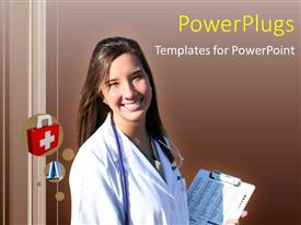 PowerPlugs: PowerPoint template with medical depiction with smiling doctor holding patient notes and stethoscope
