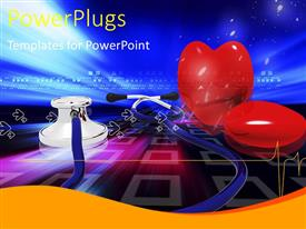 PowerPlugs: PowerPoint template with medical depiction with stethoscope and red heart shape on blue surface