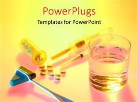 PowerPlugs: PowerPoint template with medical depiction with syringe, needle and pills from pill bottle