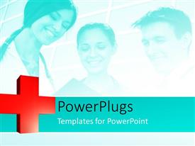 PowerPlugs: PowerPoint template with medical depictions with three smiling doctors examining patient record