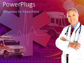 PowerPoint template displaying medical doctor with cadiogram pulse and emergency ambulance in background