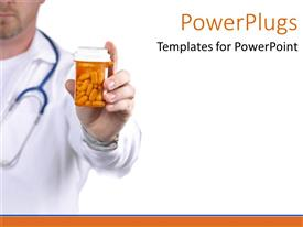 PowerPoint template displaying medical doctor holding bottle of pills on white background