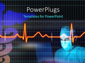 PowerPoint template displaying medical doctor with nose mask with cardiogram pulse on black surface