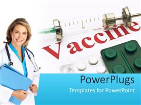 PowerPlugs: PowerPoint template with medical doctor with notes and stethoscope poses beside drugs and vaccine