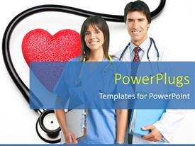PowerPlugs: PowerPoint template with medical doctor and nurse with stethoscope and red heart shape