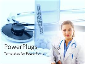 PowerPoint template displaying medical doctor with pills in bottle and stecthoscope on white surface