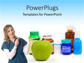 PowerPlugs: PowerPoint template with medical doctor points at green apple as alternative to medicine