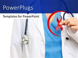 PowerPoint template displaying medical doctor with stethoscope around neck holding red ribbon