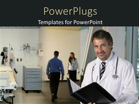 PowerPoint template displaying medical doctor with stethoscope across neck and examination note in hospital ward