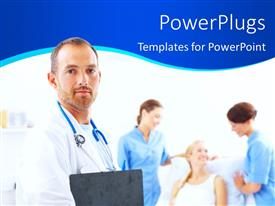 PowerPlugs: PowerPoint template with medical doctor with two female nurses attend to patient on sick bed