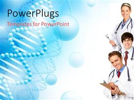 PowerPlugs: PowerPoint template with medical doctors with stethoscopes smiling with strands of DNA