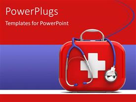 PowerPlugs: PowerPoint template with medical first aid box with stethoscope on red and blue background