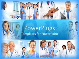 PowerPlugs: PowerPoint template with medical and healthcare theme with collage of twelve depictions of doctors with stethoscopes, smiling doctors and nurses